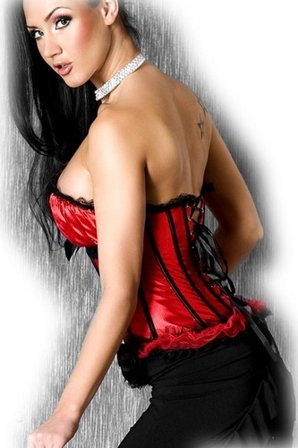 Adoracion -korsetti ja stringit, puna-musta
